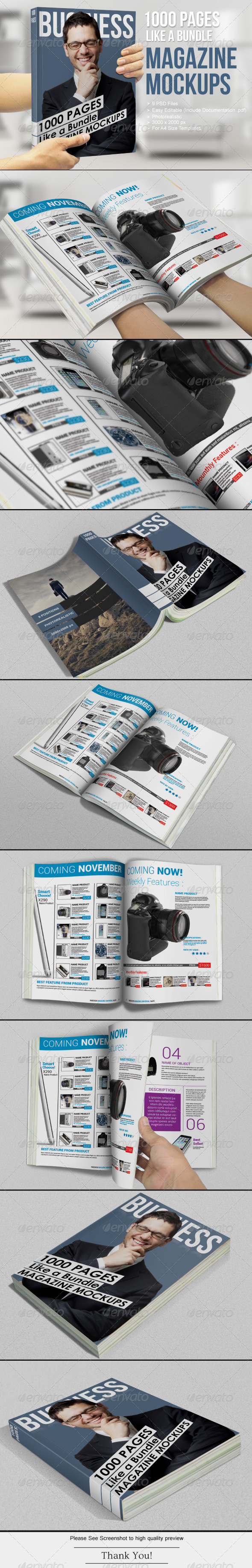 1000 Pages - Magazine Mockups - Magazines Print
