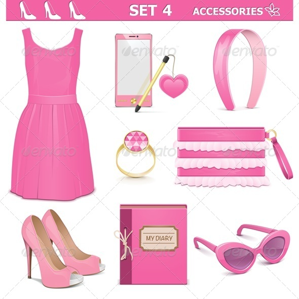 Vector Female Accessories Set 4 - Commercial / Shopping Conceptual