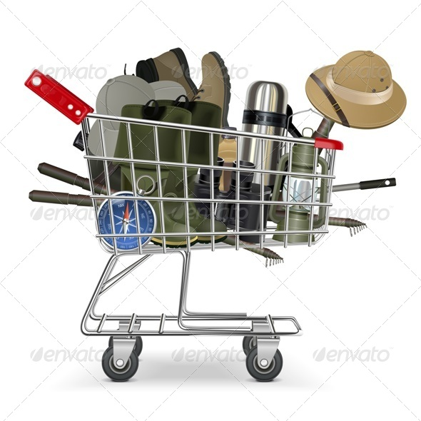 Vector Trolley with Fish-tackle - Commercial / Shopping Conceptual