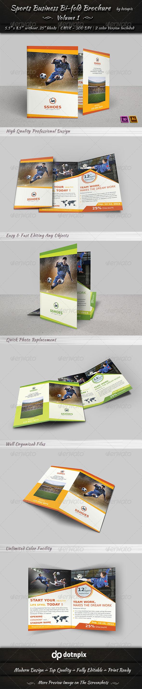 Sports Business Bi-Fold Brochure | Volume 1 - Corporate Brochures