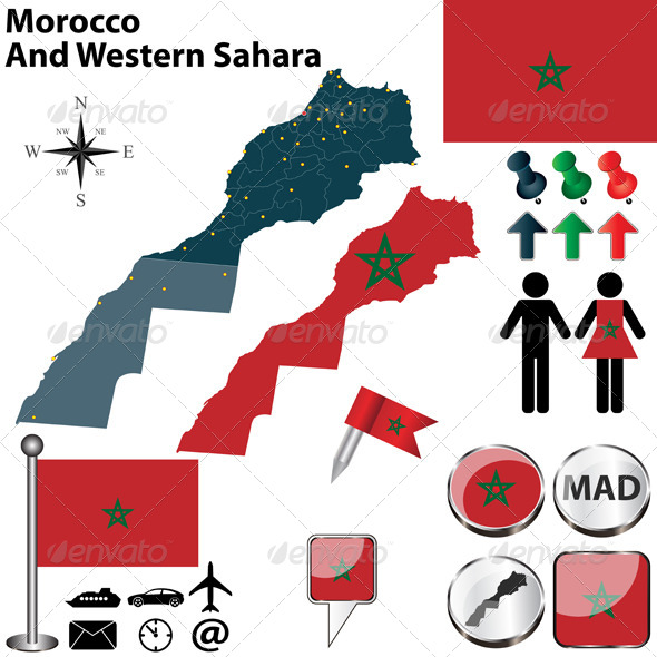 Map of Morocco And Western Sahara - Travel Conceptual