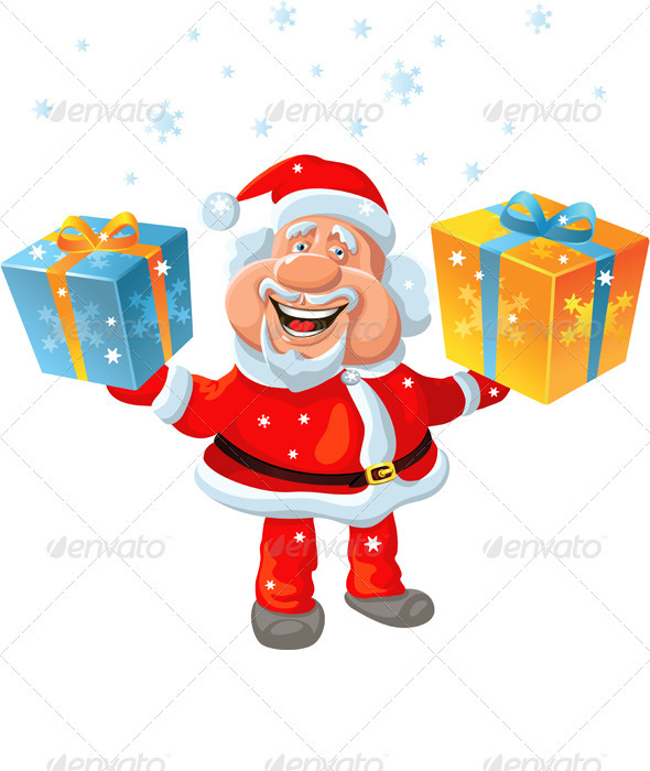 A Happy Santa Claus Holding a Gift - Christmas Seasons/Holidays
