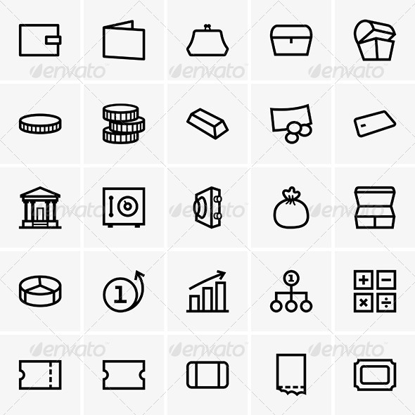 Finance Icons - Decorative Symbols Decorative