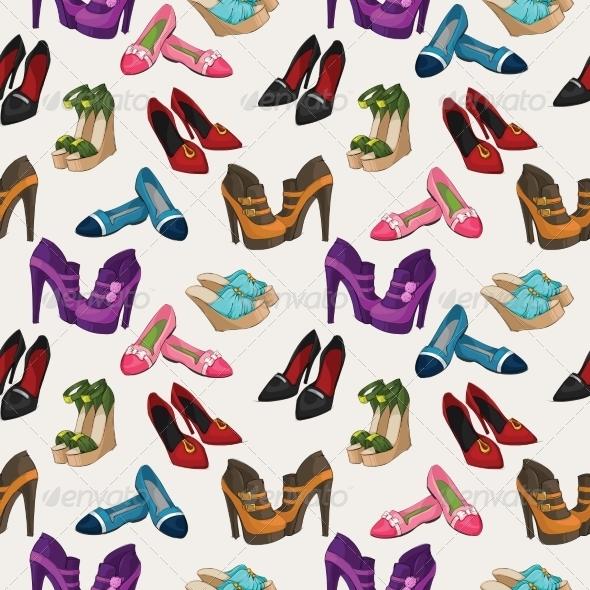 Seamless Woman's Fashion Shoes Pattern - Patterns Decorative