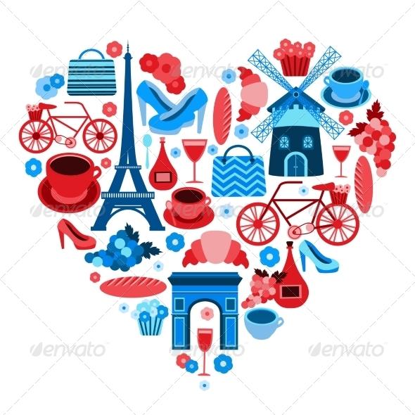 Love Paris Heart Symbol - Travel Conceptual
