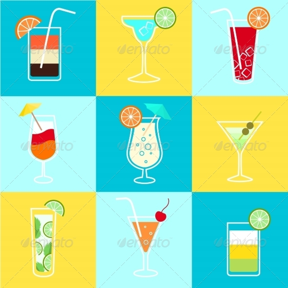 Cocktails Party Icons Set - Web Icons