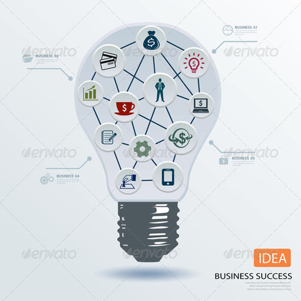 Light Bulb Business Application Icon  - Infographics