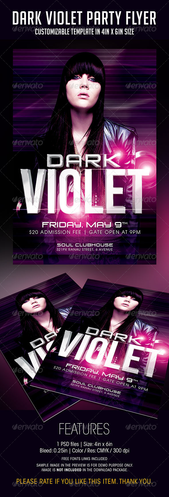 Dark Violet Party Flyer - Clubs & Parties Events