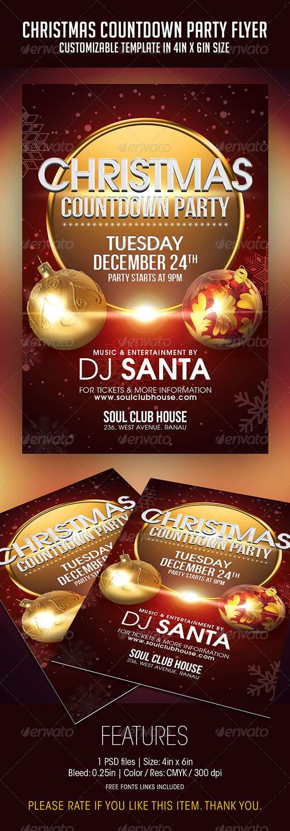 Christmas Countdown Party Flyer - Clubs & Parties Events