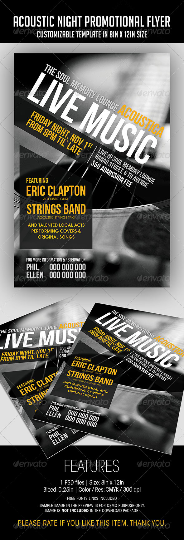 Acoustic Night Promotional Flyer - Concerts Events