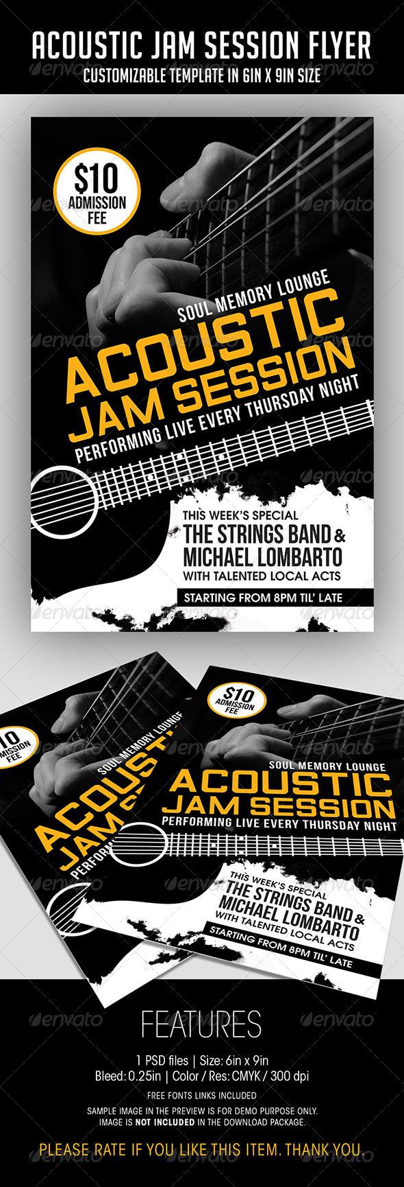 acoustic jam session flyer by soulmemoria graphicriver. Black Bedroom Furniture Sets. Home Design Ideas