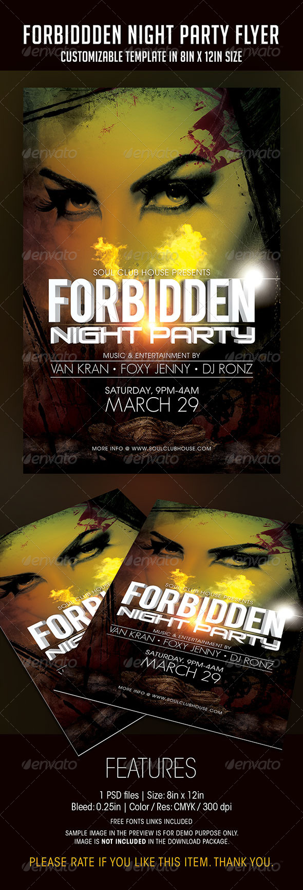 Forbidden Night Party Flyer - Clubs & Parties Events