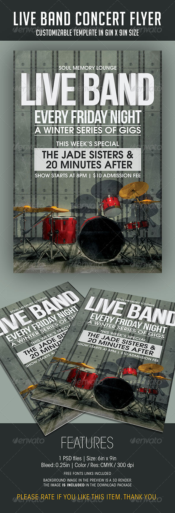 Live Band Gigs Flyer by soulmemoria | GraphicRiver