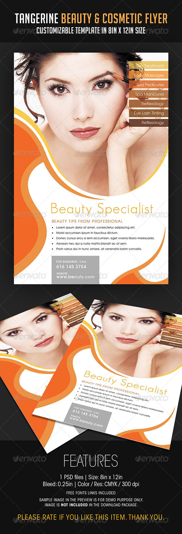 Tangerine Beauty and Cosmetic Flyer - Flyers Print Templates