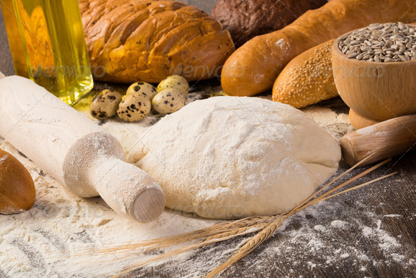 flour, eggs, white bread, wheat ears - Stock Photo - Images