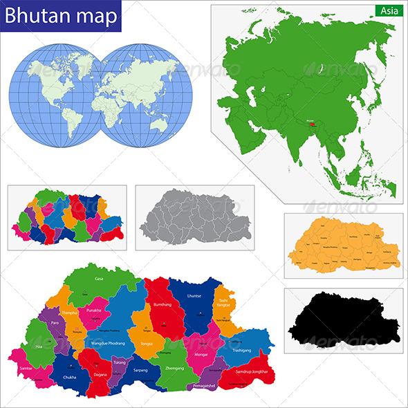 Bhutan Map - Travel Conceptual