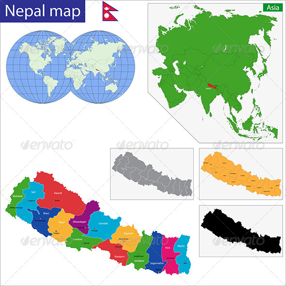 Nepal Map - Travel Conceptual