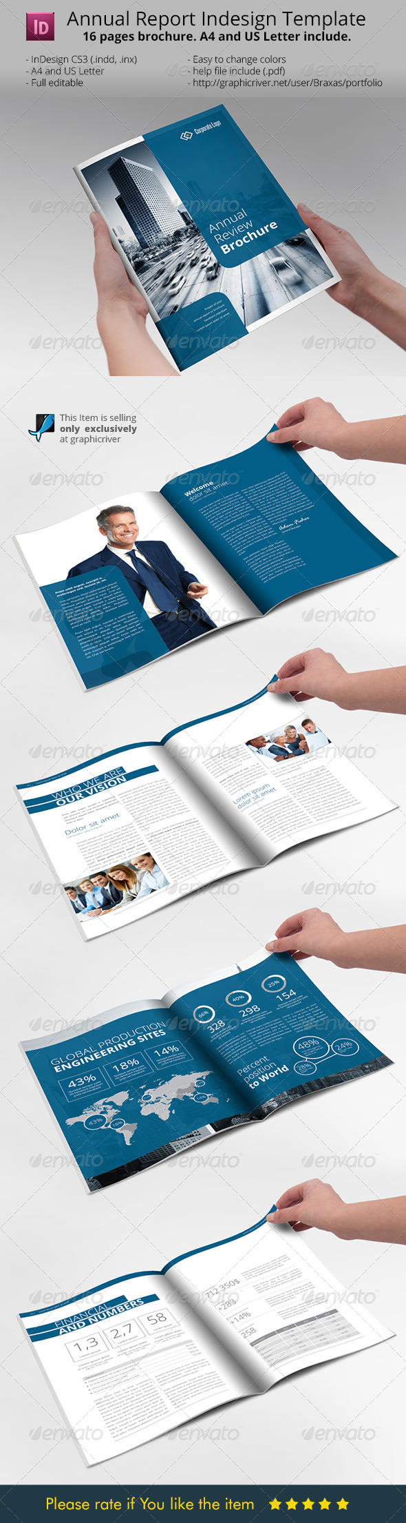 Annual Report Brochure Indesign Template - Informational Brochures