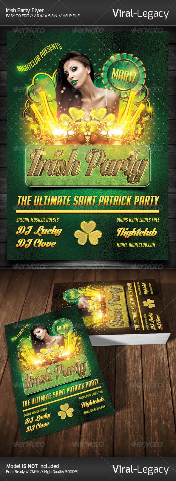 Saint Patrick Irish Party Flyer - Clubs & Parties Events
