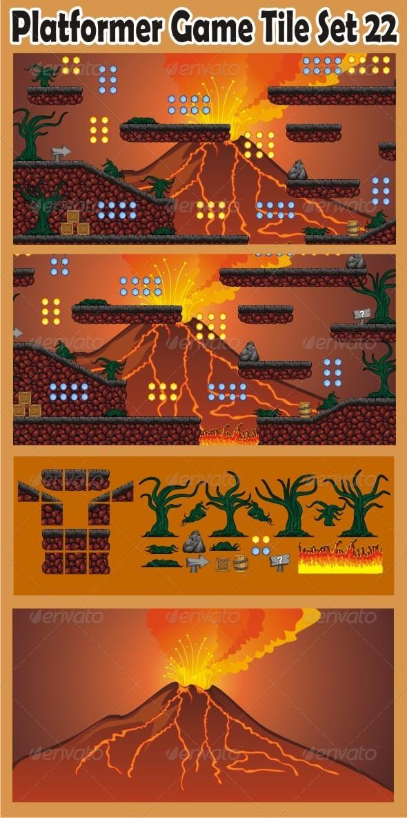 Platformer Game Tile Set 22 - Tilesets Game Assets