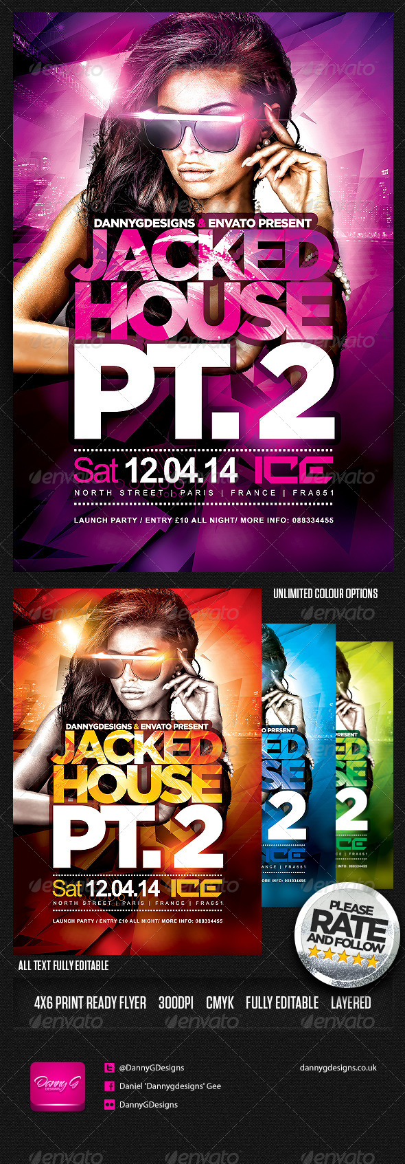 Jacked House Flyer Template PSD - Clubs & Parties Events