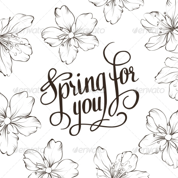 Spring for You. Calligraphic Text. - Decorative Symbols Decorative