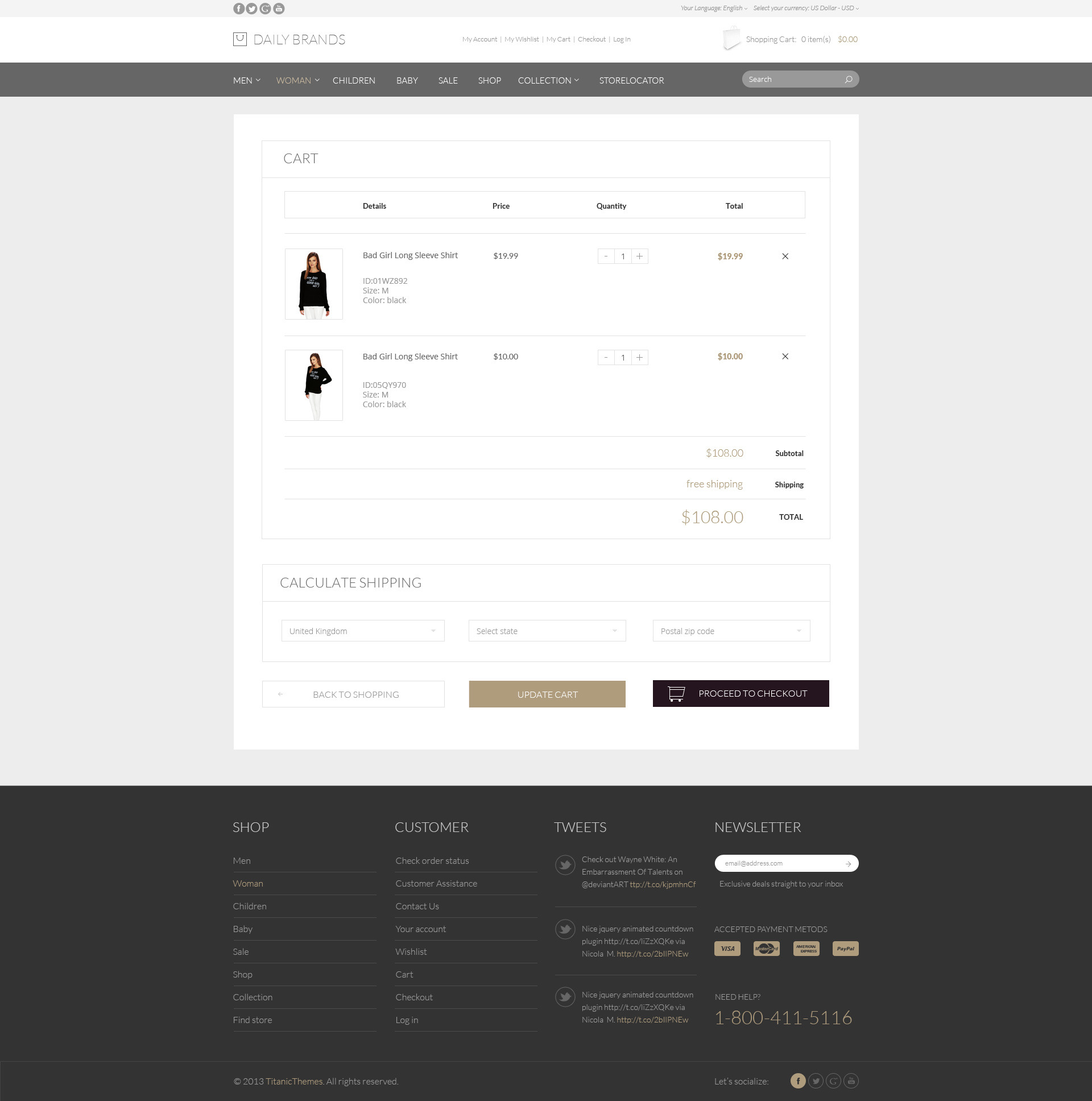 Daily Brands Store ECommerce PSD Template By TitanicThemes - Free ecommerce website templates shopping cart