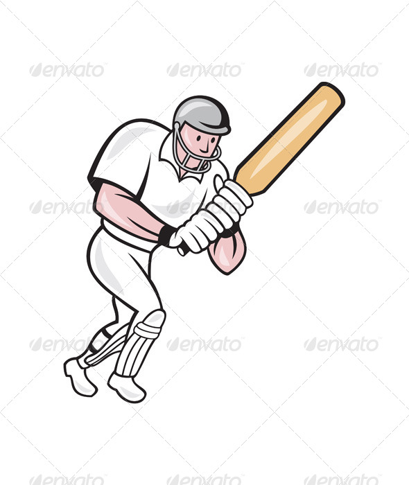 Cricket Player Batsman Batting Cartoon - Sports/Activity Conceptual