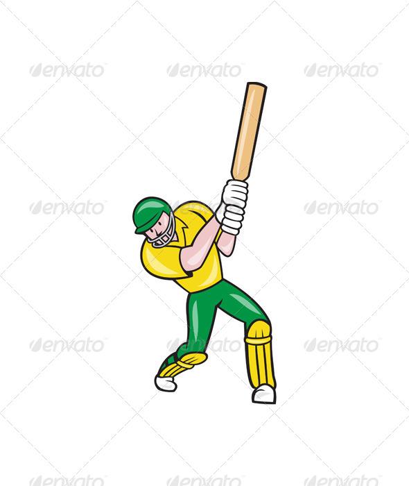 Cricket Player Batsman Batting Front Cartoon - Sports/Activity Conceptual