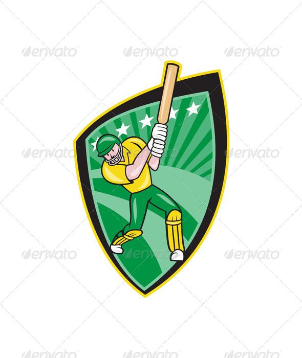 Australia Cricket Player Batsman Batting Shield - Sports/Activity Conceptual