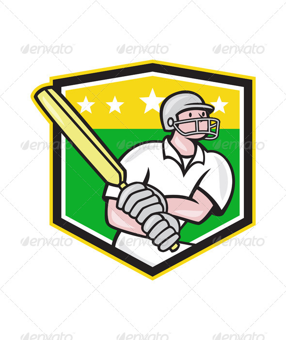 Cricket Player Batsman Batting Shield Star - Sports/Activity Conceptual