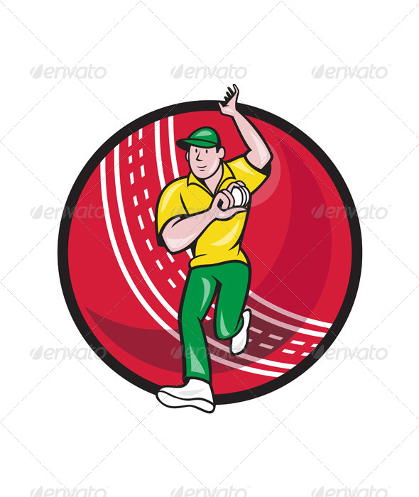Cricket Fast Bowler Bowling Ball Front Cartoon - Sports/Activity Conceptual