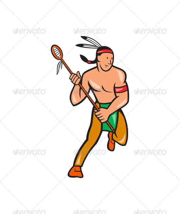 Native American Lacrosse Player Cartoon - People Characters