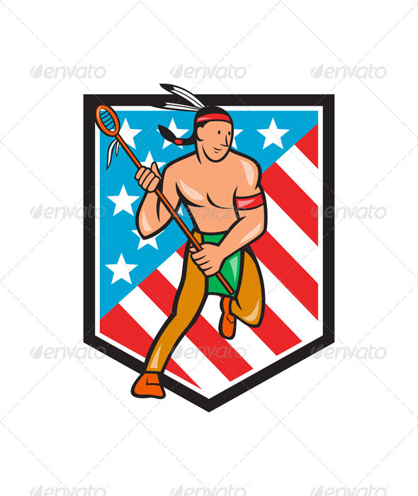 Native American Lacrosse Player Stars Stripes Shie - People Characters