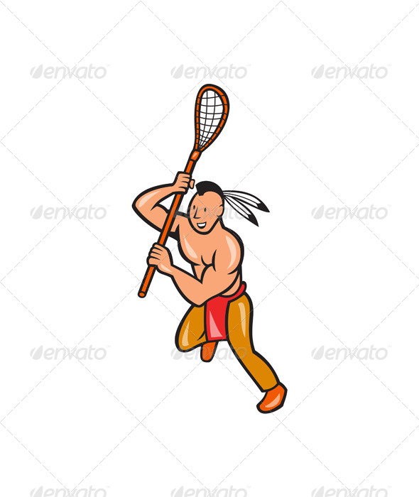 Native American Lacrosse Player Crosse Stick - People Characters