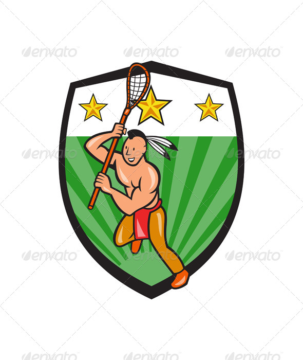 Native American Lacrosse Player Shield - People Characters