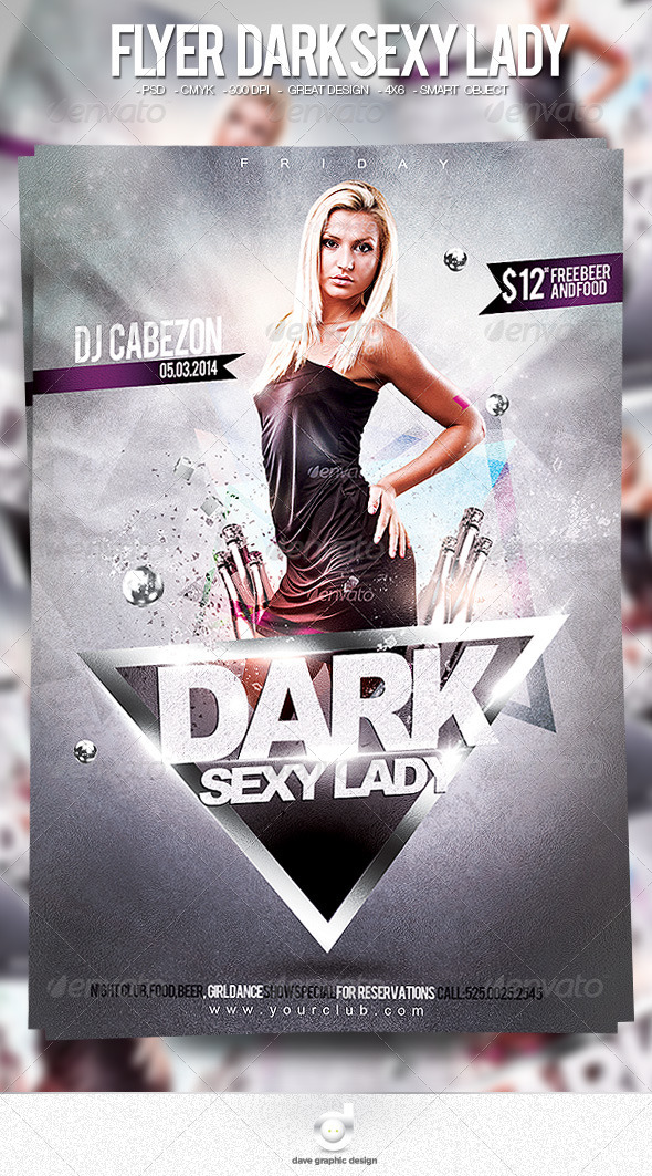 Flyer Dark Sexy Lady - Clubs & Parties Events