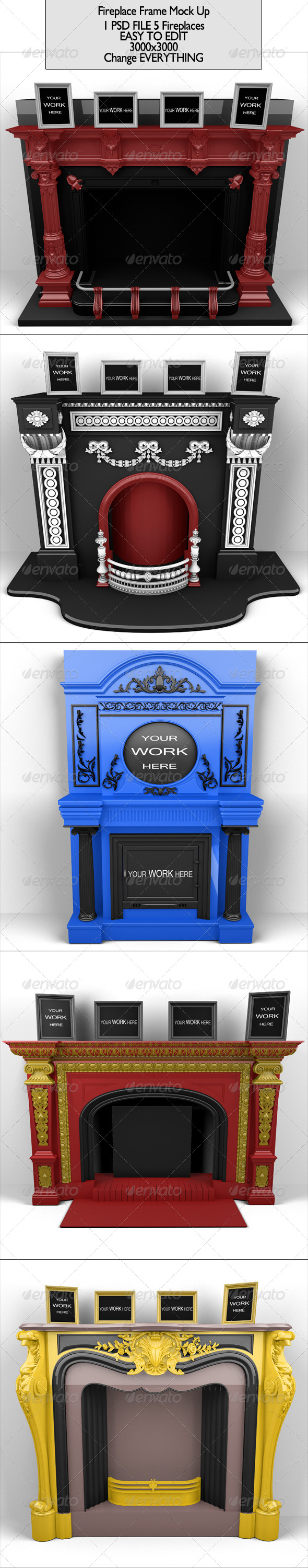 Fireplace Frame  - Photo Templates Graphics