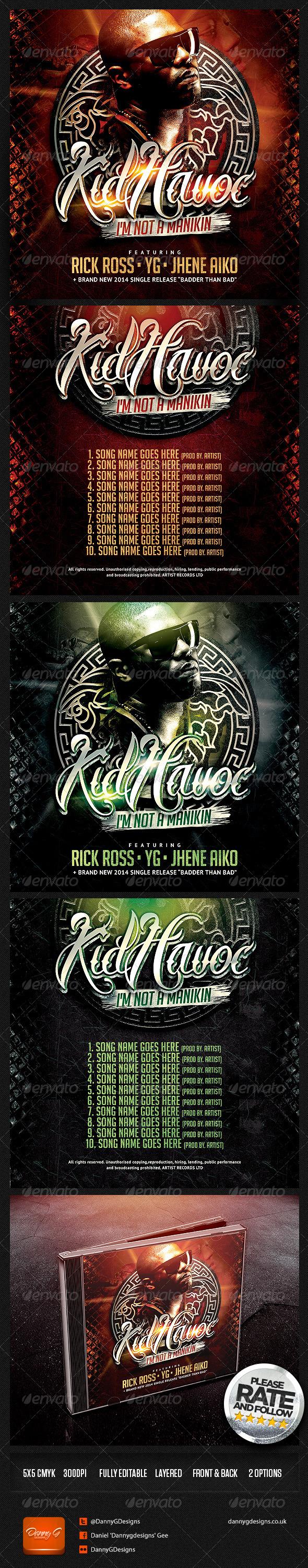 KidHavoc - I'm Not A Manikin Mixtape Cover Design  - CD & DVD Artwork Print Templates
