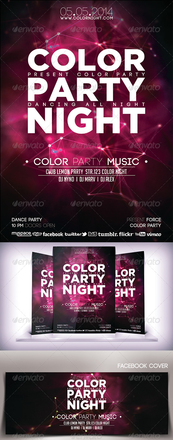 Color Party Night Flyer - Clubs & Parties Events