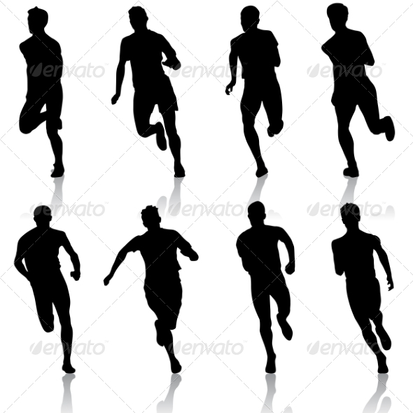 Set of Running Silhouettes - People Characters