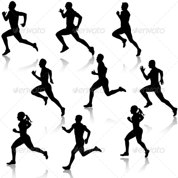 Running Silhouettes Set - People Characters