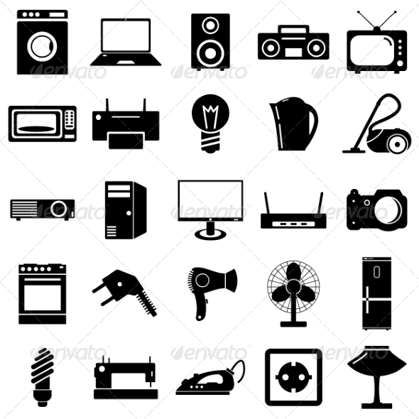 Collection of Electrical Device Symbols - Web Elements Vectors