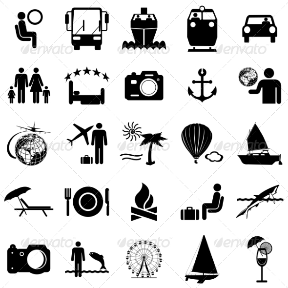 Collection of Travel Icons - Web Elements Vectors