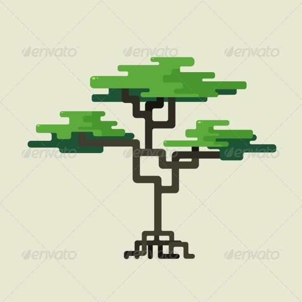 Stylized Geometric Design of Green Trees - Flowers & Plants Nature