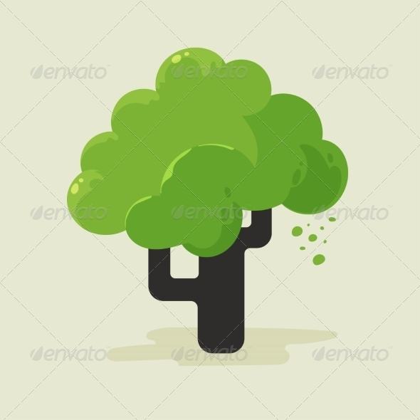 Illustration of a Flat Tree with Green Foliage - Flowers & Plants Nature
