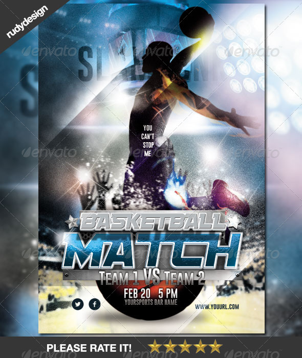 Basketball Match Night Flyer Design By Rudydesign  Graphicriver
