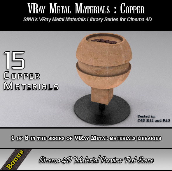 15 VRay Copper Materials Pack for Cinema 4D - 3DOcean Item for Sale