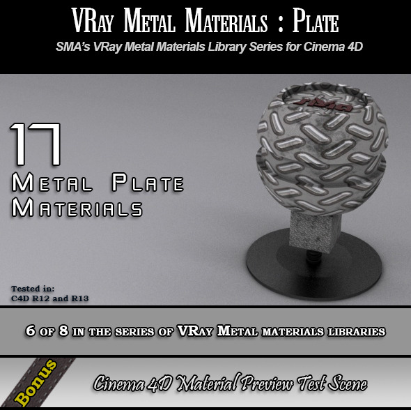 17 VRay Metal Plate Materials Pack for Cinema 4D - 3DOcean Item for Sale