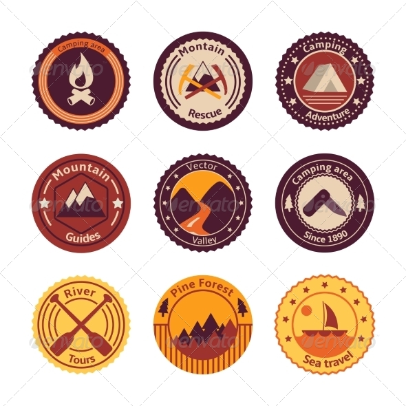 Outdoors Tourism Camping Flat Badges - Travel Conceptual
